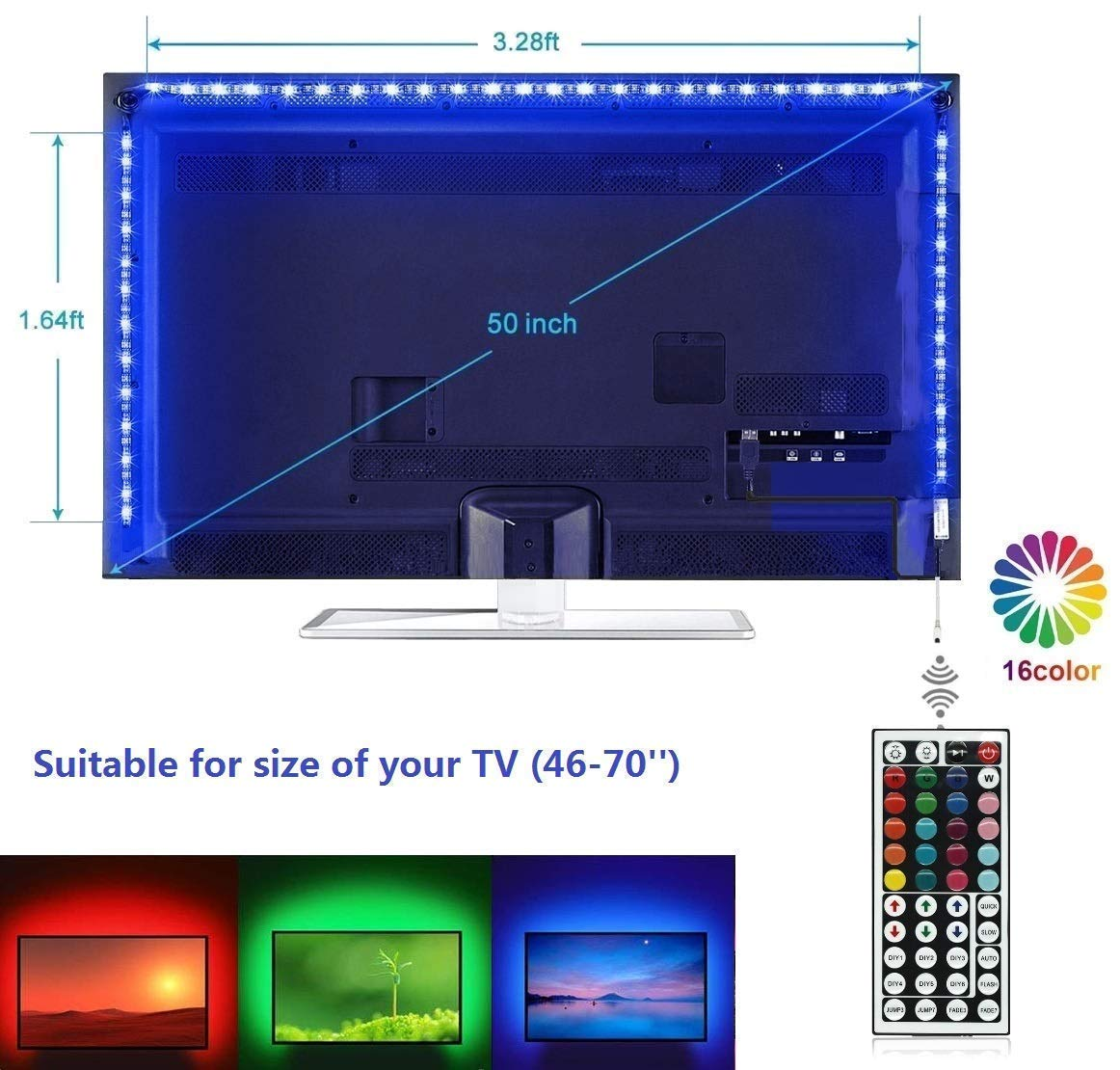 Topled Light LED TV Backlight, USB LED Strip Light ith 44Keys Remote Controller, Extra Adhesive 3M Tape, Flexible Changing Multi-Color Lighting Strips for TV/Room/Party/Home Decoration (40''-60'')