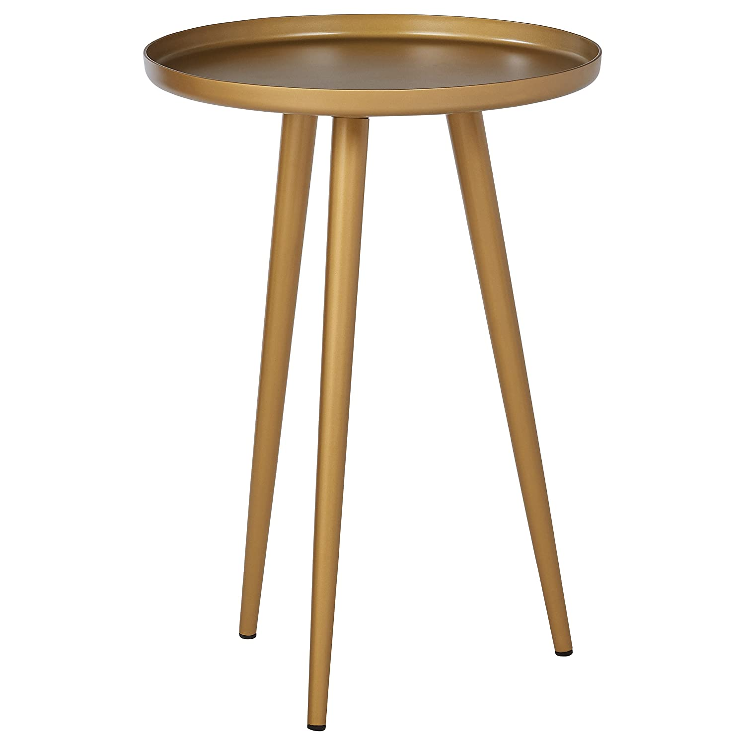 "Rivet Mid-Century Modern Round Metal Side End Table, 15""W, Brass"