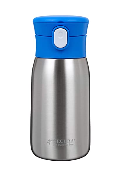 a9510aef36 Amazon.com: Secura Vacuum Insulated Stainless Steel Straw Water Bottle with  Handle, 350ML/12OZ, Blue: Kitchen & Dining