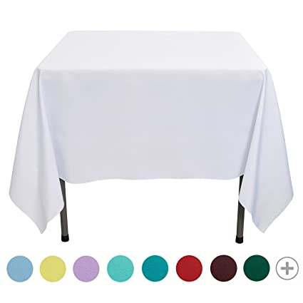 VEEYOO 70 Inch Square Solid Polyester Tablecloth For Wedding Restaurant  Party Coffee Shop Picnic Christmas,