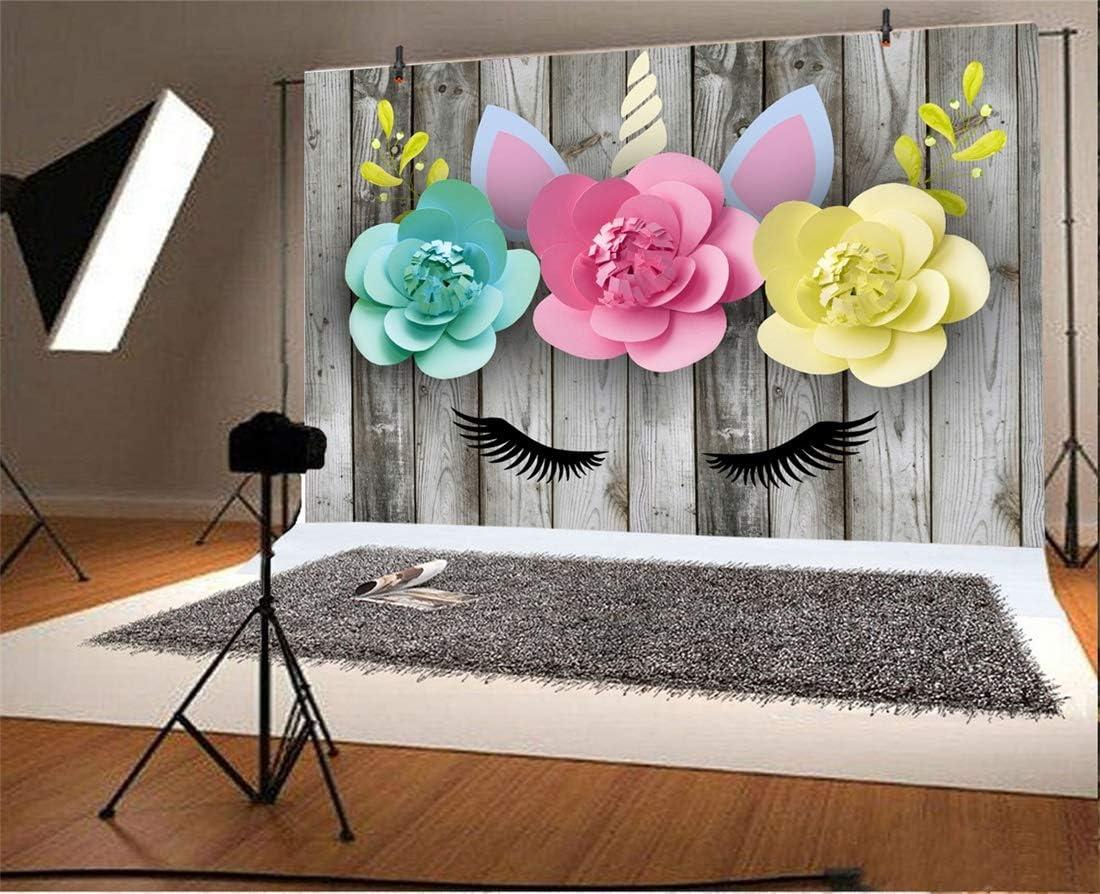 Yeele 10x6.5ft Photography Background Eyelash Unicorn Theme Birthday Girls Baby Photo Shoot Wooden Wall Baby Shower Paper Flowers Garland Unicorn Head Photo Booth Backdrop Wallpaper