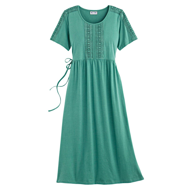 b0ed052b21 Blair Women s Plus Size Lace Trim Knit Dress - XL Porcelain Green at Amazon  Women s Clothing store