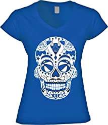 America s Finest Apparel Blue Devil Basketball Sugar Skull - Women s d9f9af0da