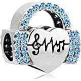 Mel Crouch Love Music Note Headset Charms Heartbeat Charms Beads for Bracelets