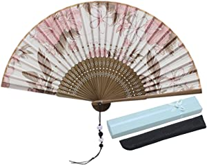 JSSWB Silk Folding Fan, Chinese/Japanese Vintage Retro Style Handmade Silk Hand Fan with a Silk Sleeve and Handmade Tassels for Home Decoration Party Wedding Dancing (Style-6)