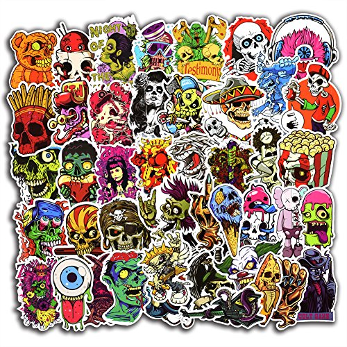 100 Pcs Horror Cool Stickers for Laptop Car Luggage Bicycle Motorcycle Computer Skateboard Snowboard Water Bottle Graffiti Vinyl Decal Pack Bomb Sticker