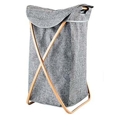 Hosroome Bamboo Laundry Hamper with Lid Laundry Baskets with Handles Waterproof Foldable Hamper Easily Transport Laundry,Grey