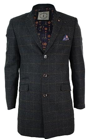 7bfed58a1 Manteau homme veste 3/4 gris marron tweed laine à chevrons et ...