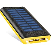 Ruipu 24000mAh Solar Portable Charger Power Bank Backup Battery Packs Compatible (Yellow)