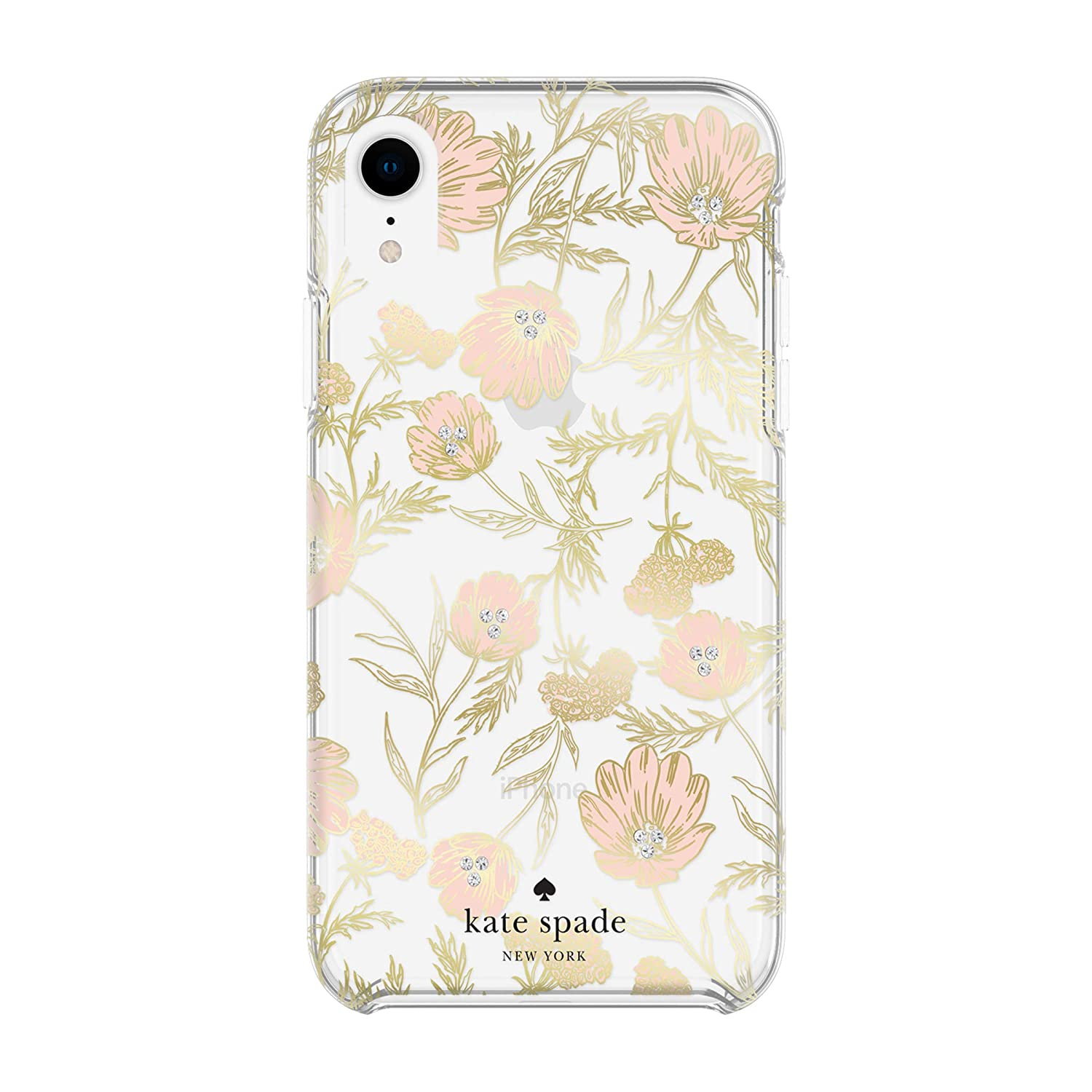 differently f1b34 f8f3c Kate Spade New York Phone Case for Apple iPhone XR Protective Phone Cases  with Slim Design Drop Protection and Floral Print, Blossom Pink/Gold with  ...
