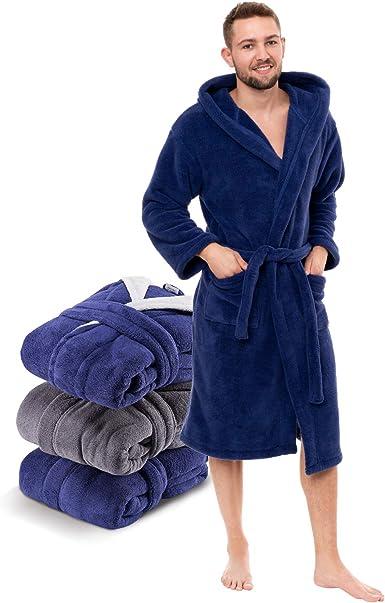 5XL I Bath-Robe /Öko-Tex Standard 100 /& Gr/ö/ßenauswahl S Di Ficchiano Herren Bademantel Monza mit Kapuze I Morgenmantel flauschig I Nachtw/äsche aus edler Mikrofaser I Kimono mit Farb
