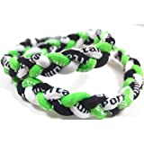 """NEW! 18"""" Kids Size Neon Green Black White Tornado Necklace With Case"""