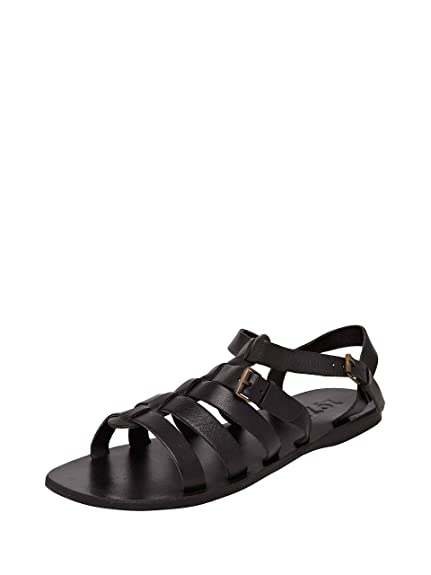 6d972f2d0337 ESTD.1977 Men Black Leather 40 SANDALS  Buy Online at Low Prices in ...
