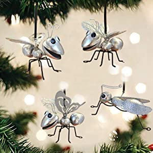 GIFTME 5 Silver Glittered Christmas Tree Ornaments Metal Insect Decorative Hanging Ornaments(4 pcs)