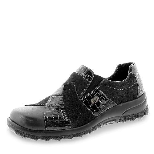 8d4e042b54c Rieker L7164-00 Black Leather Patent Combo Water Resistant Shoe ...