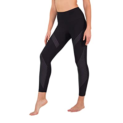 90 Degree By Reflex High Waist Iridescent Silicone Ankle Length Workout Leggings at Women's Clothing store