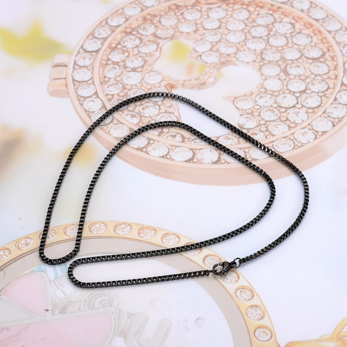 HooAMI Black Stainless Steel 2mm Box Chain Necklace For Unisex 22 Inches
