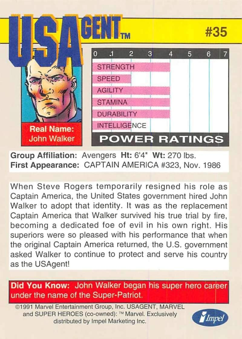 USAgent # 35-1991 Marvel Universe Series 2 Impel Base Trading Card US Agent