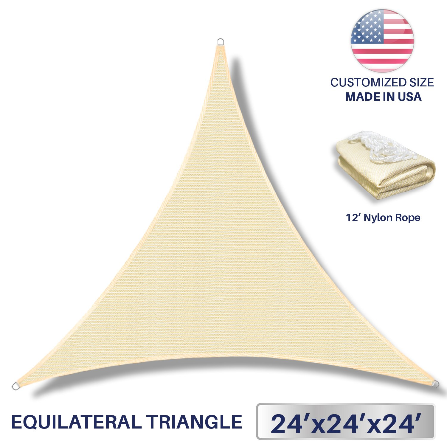 24' x 24' x 24' Sun Shade Sail UV Block Fabric Canopy in Beige Sand Triangle for Patio Garden Patio Customized Sizes Available (3 Year Warranty)