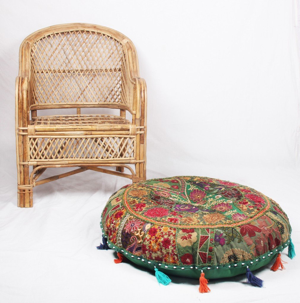 Jaipurtextilehub JTH Bohemian Pouf Ottoman Green Patchwork Indian Pouf Vintage Seat Pouffe (Size: 32X9X32 Inch) Jaipur Textile Hub JTH-AG-5