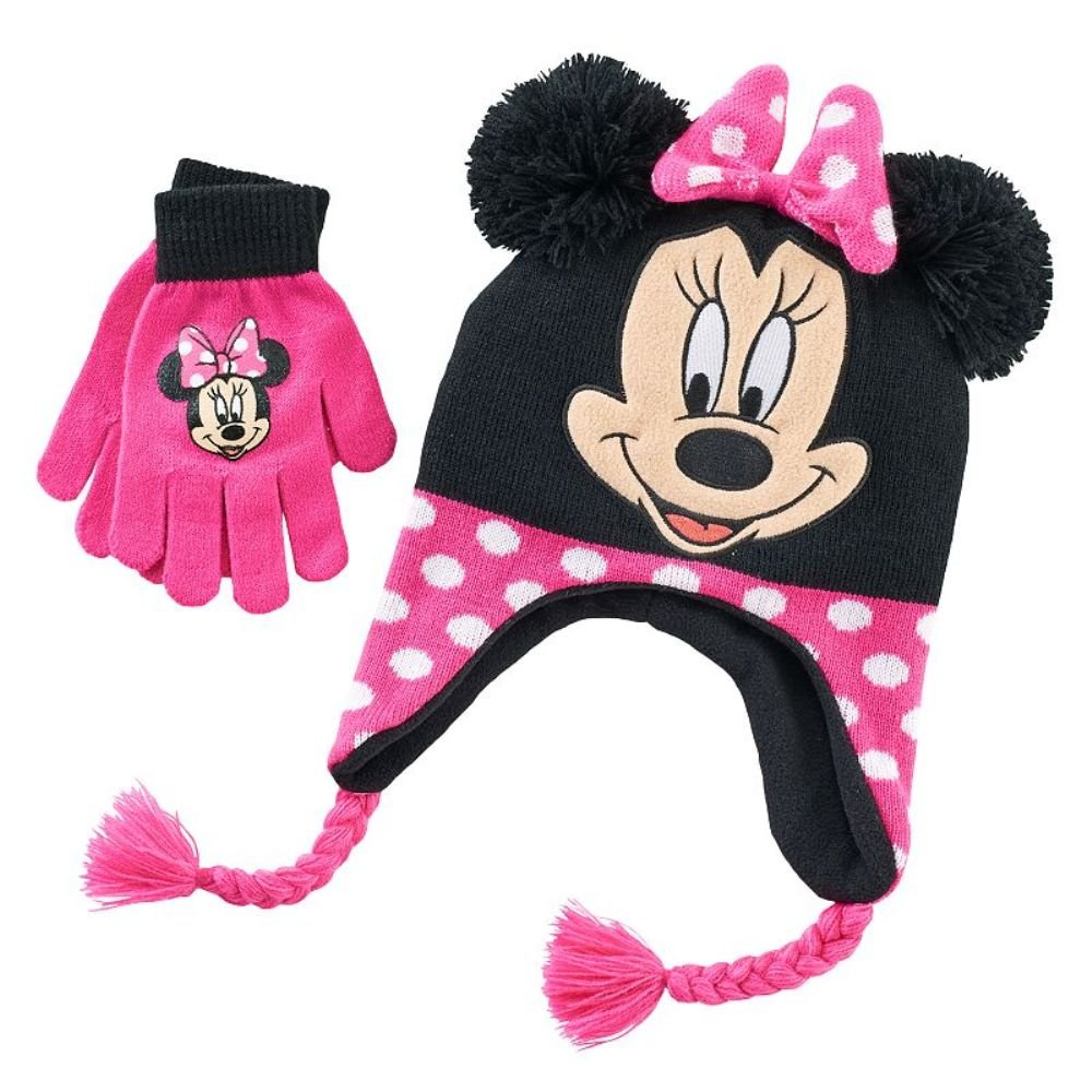 Girls Peruvian Style Minnie Mouse Hat & Gloves Set - One Size (7-16)