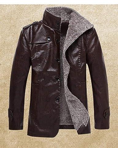 Herren Plus Kaschmir Kunst Lederjacke Biker Business Jungen Jacke Slim  Fashion Kurz Mantel Langarm Revers Kunstleder Vintage Motorradjacke   Amazon.de  ... 651aa0dd98