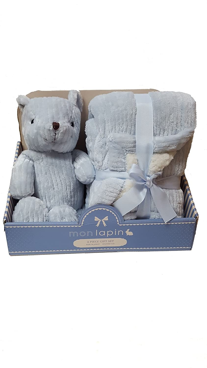 Amazon.com : Mon lapin 2 piece gift set Blanket And Stuffed Toy Blue ...