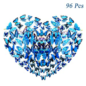 96Pcs 3D Butterfly Wall Stickers Decal, Removable Art Mural Decoration DIY Double Wings Butterflies Decor for Kids Girls Bedroom Living Room Classroom Offices – Multiple Styles (Blue)
