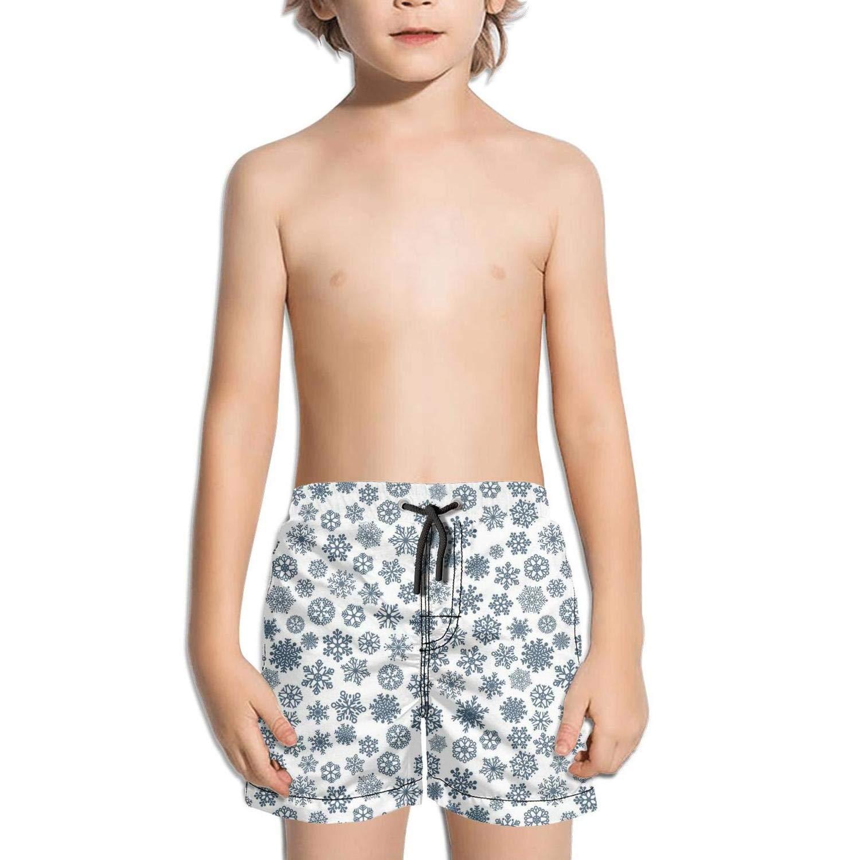 ddasqas Christmas Snowflakes Image Dark Blue Kid Athletic Gym Shorts Swim Shorts Bathing Suits