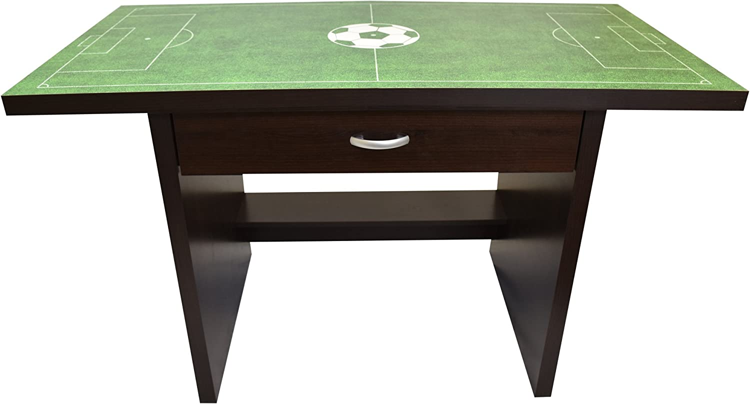 Daycare Durable Wood Construction with Drawer Activity Play Table with Sports-Themed Graphics for Playroom Little Partners Kids Soccer Fan Desk Preschool