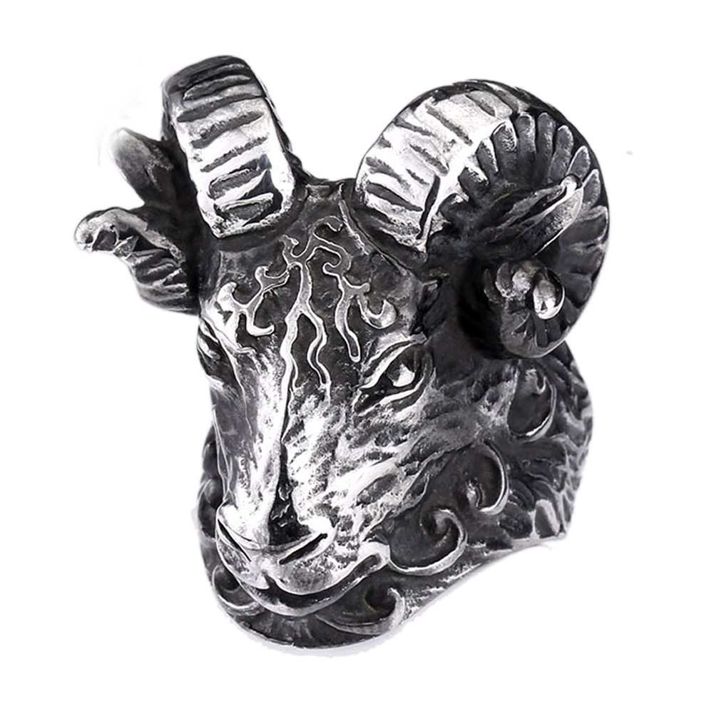 Men's 316L Stainless Steel Vintage Black Big Sheep Goat Head Skull Gothic Ring Moluss BR8-159