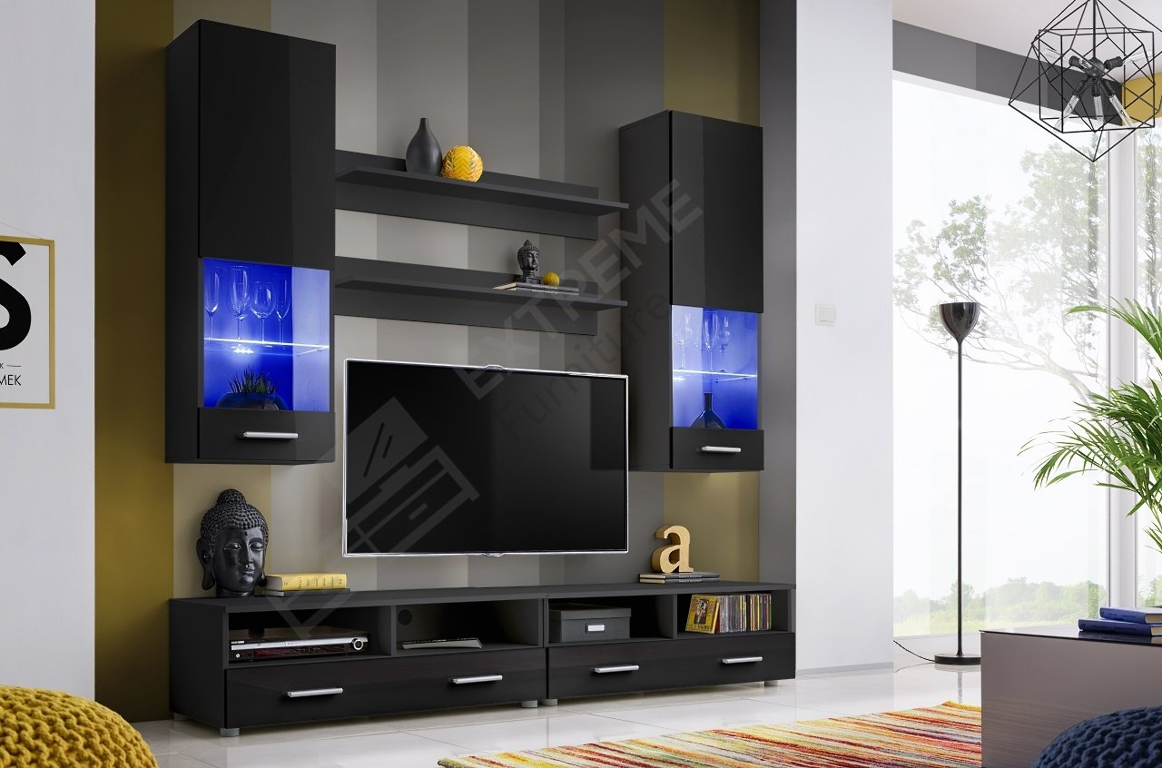 Living Room High Gloss Furniture Set Display Wall Unit Modern TV