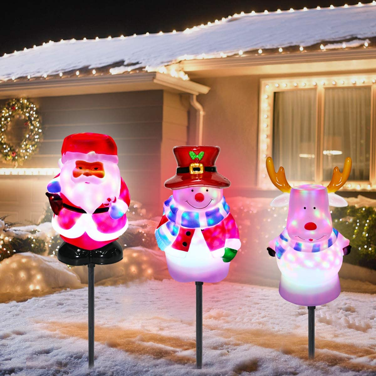 Christmas Pathway Lights Outdoor Decorations - 3 Pack Waterproof Landscape LED Lights with Santa/Snowman/Deer for Garden Patio Yard Lawn Pathway Christmas Decorations