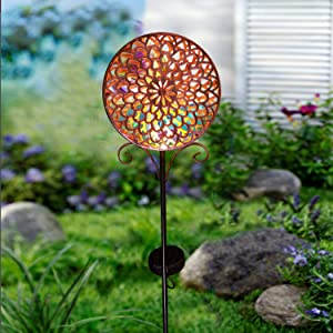 Solar Pathway Lights Outdoor Metal Sun Decorative Garden Stake Light,Waterproof LED Flicking Solar Decor for Yard,Lawn,Patio(Bronze)