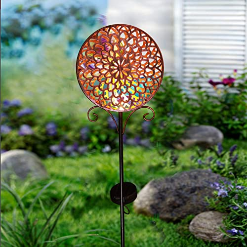 Solar Pathway Lights Outdoor Metal Sun Decorative Garden Stake Light,Waterproof LED Flicking Solar Decor for Yard,Lawn,Patio Bronze