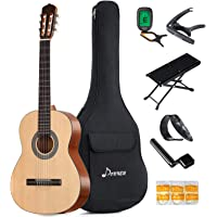 Donner 39 Inch Classical Guitar DCG-1 Full Size Beginner Acoustic Classical Guitar Package Spruce Mahogany Body With Bag Capo Tuner String Picks
