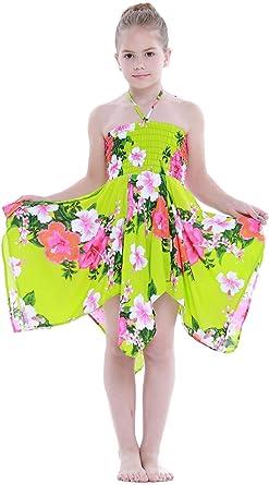 Niña gitano Botón desigual Hawaiian Luau vestido en Verde ...