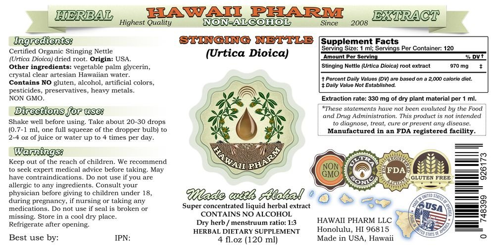 Stinging Nettle Alcohol-FREE Liquid Extract, Organic Stinging Nettle (Urtica Dioica) Dried Root Glycerite 4x4 oz by HawaiiPharm (Image #2)