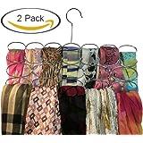 Durable Steel Scarf, Tie, Belt hanger organizer holder rack – 24 loop Chrome (Pack of 2)