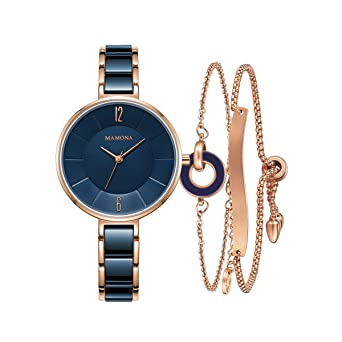 56d7d5289177 Amazon.com  Ladies Quartz Watch Women bracelet set MAMONA Rose Gold Blue  Ceramic and Stainless Steel Watch 3887LBLT  Watches