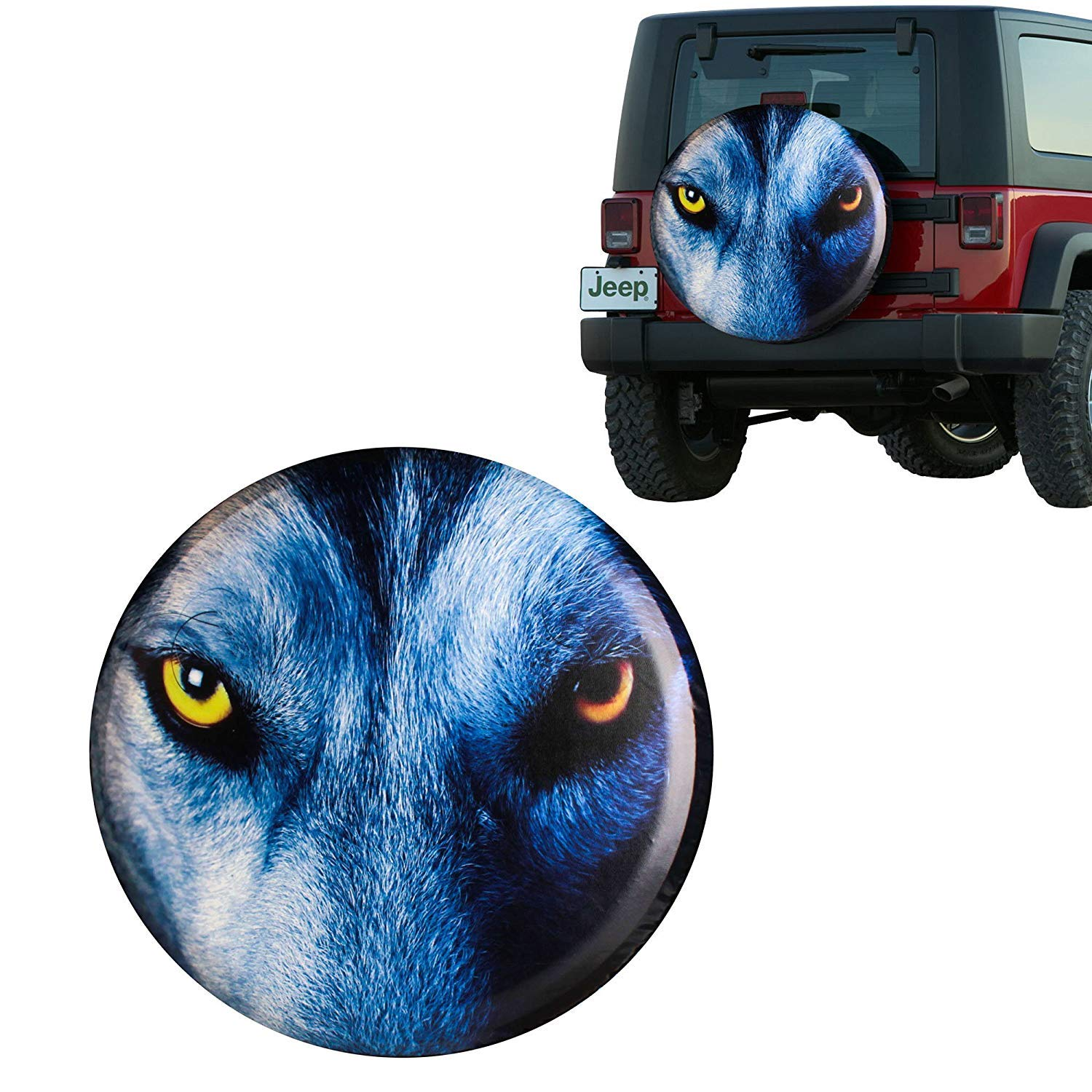 Car Tire Spare , Blue Wolf Gaze Eyes Spare Tire Wheel Cover Car Truck Suv Camper Fits Jeep Wrangler Crv Fj Rav4 H2 H3 Land Rover Discovery Ecosport Outlander Grand Vitara R15 M (diameter 28 30 ), M by Eletina mlfl Eletina difts