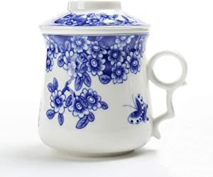 TEANAGOO M01-3 Japanese Tea-Mug with Strainer and Lid, 13.7 OZ, Blossom, Portable Ornament infuser,Infused Tea-Cup, Brewing Filter, Steeper Men Mom, TEANAGOO Maker