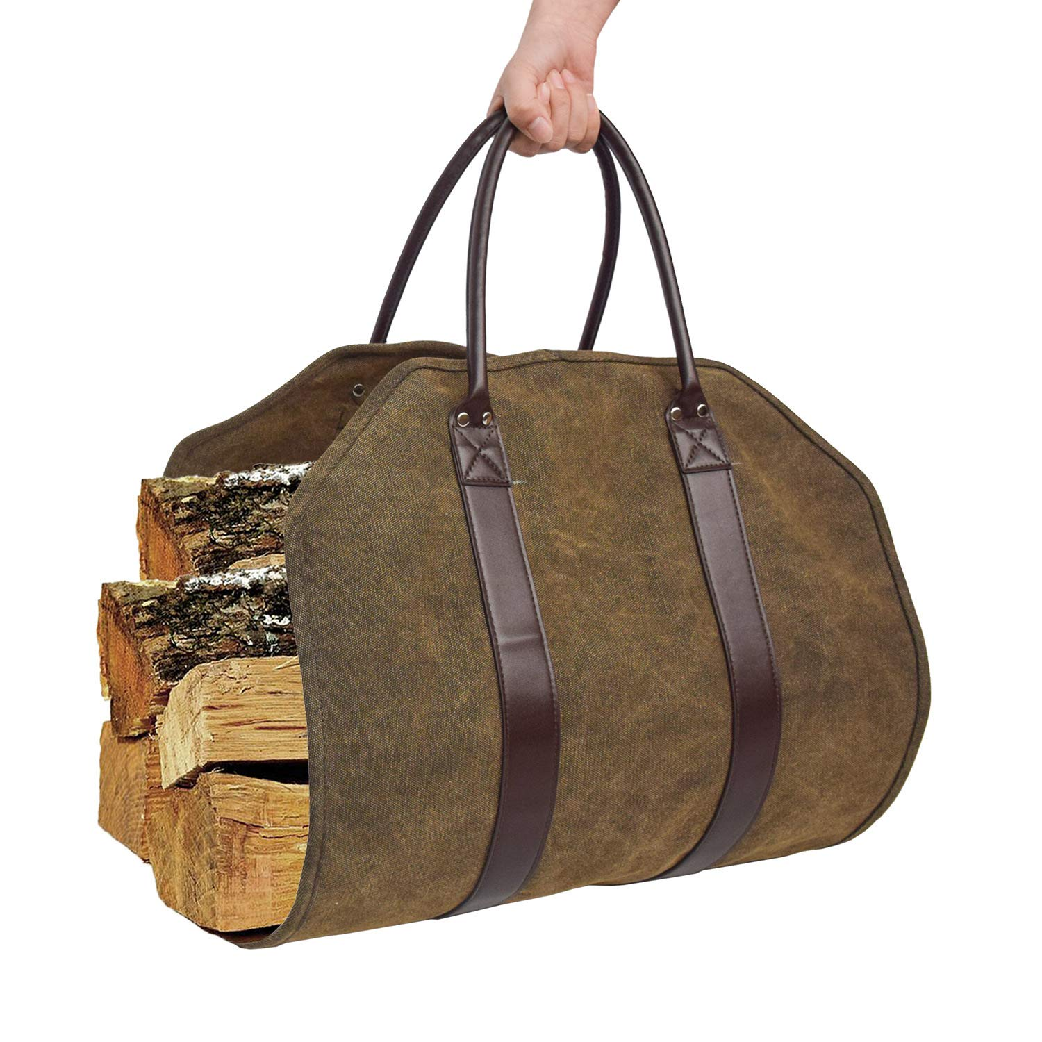 Ationgle Canvas Firewood Carrier, Large Log Carrier Tote Bag with Leather Handles, Heavy Duty Durable Firewood Carring with Security Strap for Fireplace Campfire, Gift for Campers by Ationgle