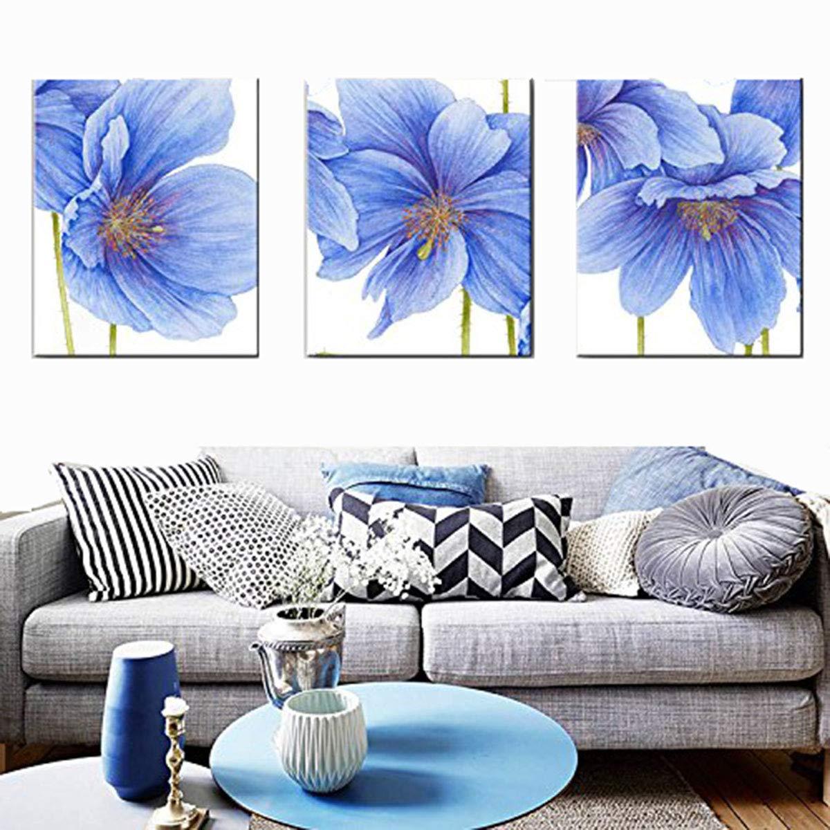 3550cm WG Blaue Blüten dreifach dekorative Malerei, rahmenlose Gemälde, Restaurant Gang dekorative Malerei, 35  50cm