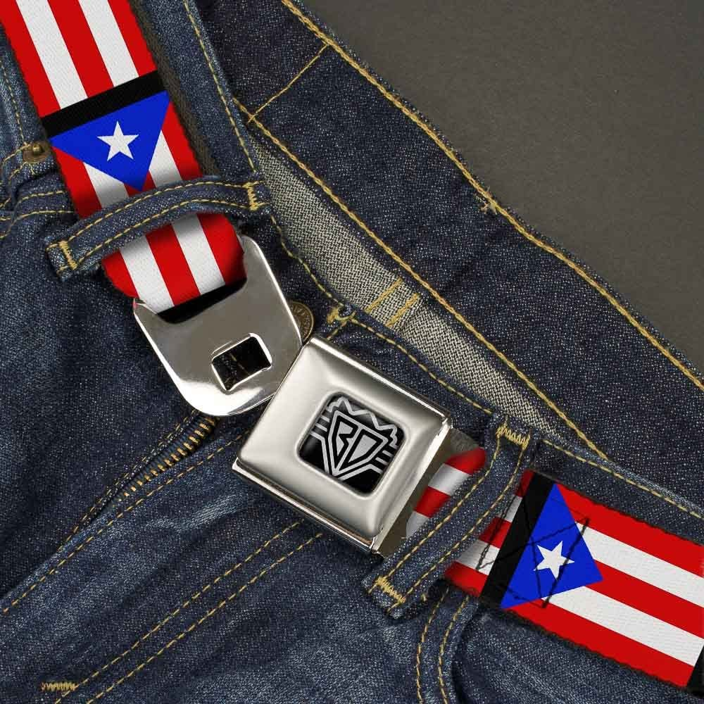 Buckle-Down Unisex-Adults Seatbelt Belt Puerto Rico Regular 1.5 Wide-24-38 Inches Flag Repeat//Black