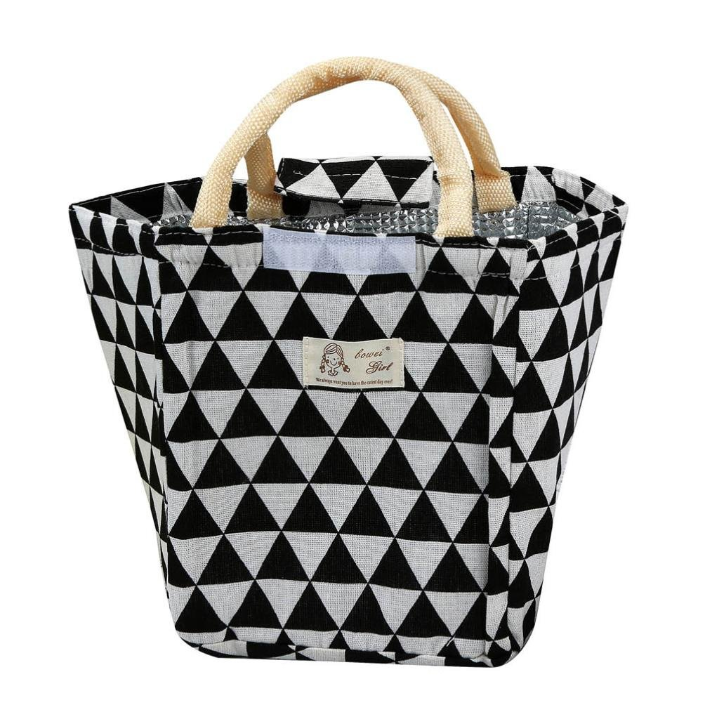 Multicolor B Thermal Insulated Lunch Storage Bag EUZeo Colorful Triangles Lunch Box Tote with Zipper Bento Pouch Lunch Container Clearance Sale
