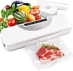 Vacuum Sealer Machine with Cutter & Bags, Automatic Food Meat Savers with Vac Pipe for Jar, Coindivi Air Sealing System Machine with Dry, Gentle, Moist Mode for Food Preservation, Led Screen (White)