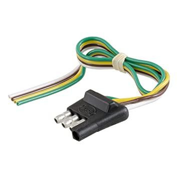 CURT 58030 Trailer Side 4-Way Trailer Wiring Harness with 12-Inch Wires, on