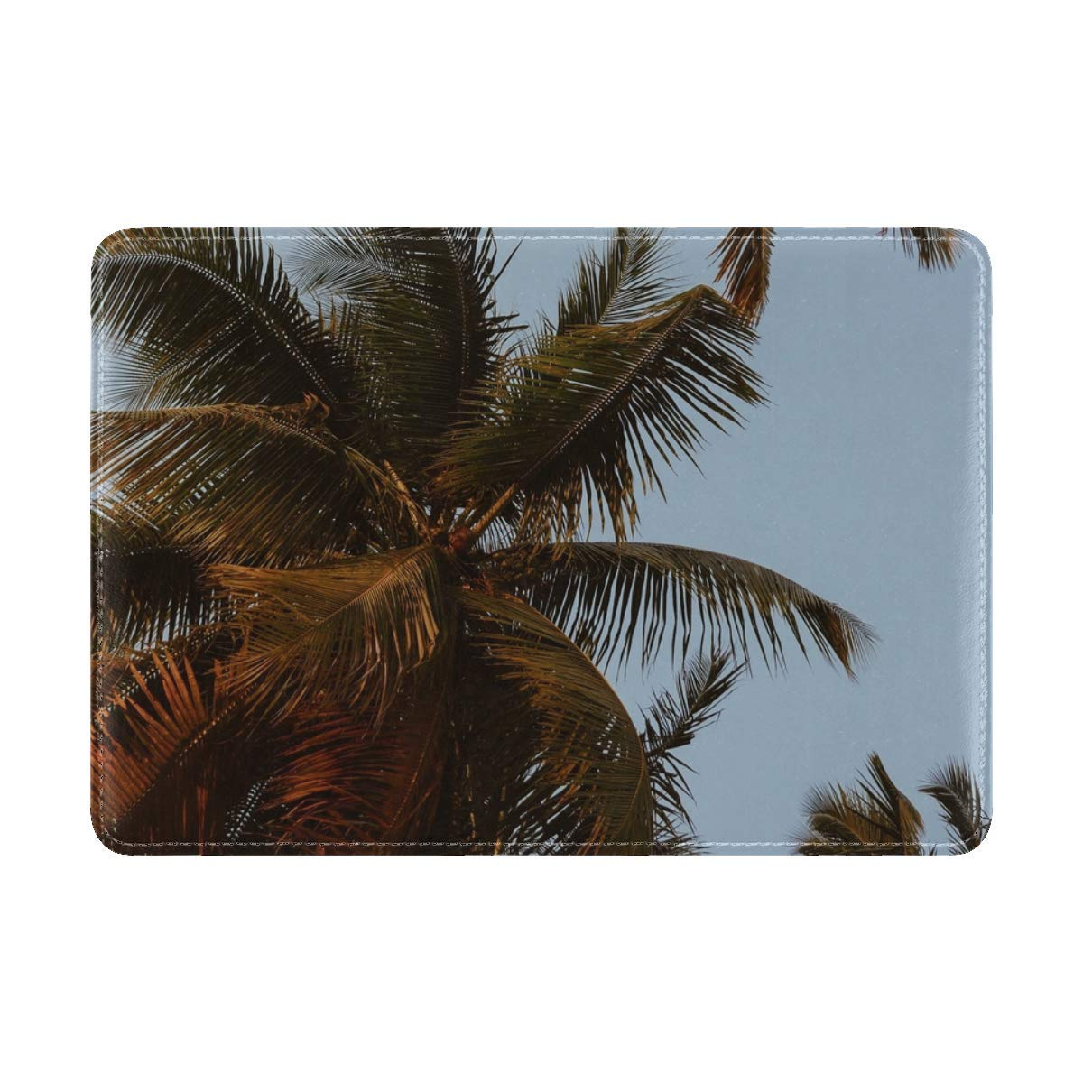 Palm Trees Crowns Branches Leather Passport Holder Cover Case Travel One Pocket