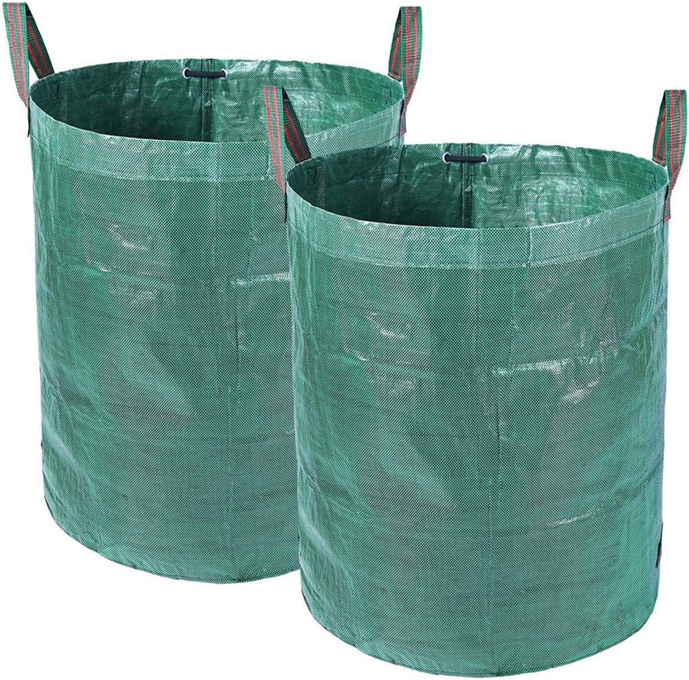 Sisenny 2 Pack Garden Waste Bags 32 Gallons Reusable Yard Leaf Bags Collapsible Gardening Storage Bags Lawn Pool Waste Containers